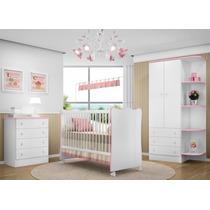 Quarto Infantil Doce Sonho 3 Pçs Berço Bebê Cômoda Bco Rosa