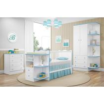 Quarto Infantil Doce Sonho 3 Peças Branco Azul Qmovi