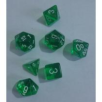 Kit De 7 Dados De Rpg E Cardgame Da Chessex - Verde