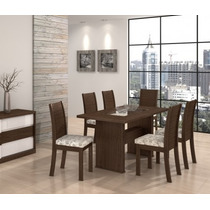 Conjunto De Mesa 100% Mdf 6 Cadeiras Sâmara New Sala Jantar