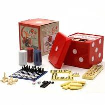 Conjunto 6 Jogos Em 1 Game Cube Dominó Baralho Dado Xadrez