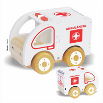 Brinquedo Madeira- Carrinho- Ambulância