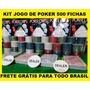 Jogo De Poker Kit Com 500 Fichas + Acessórios Frete Grátis