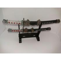 Espada Samurai Sabre Japonês 2 Peças Decoração Enfeite