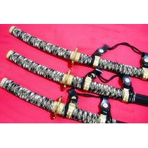 Conjunto Cerimonial Shogun - 3 Espadas Katanas Com Suporte