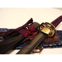 Espada Katana P/ Corte Tameshigiri Afiada Aço Negro Dobrado