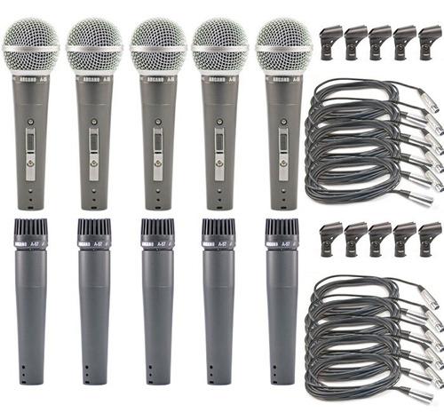 Kit 5 Microfones Arcano A-57 A-58 Cabos Maleta Cachimbos