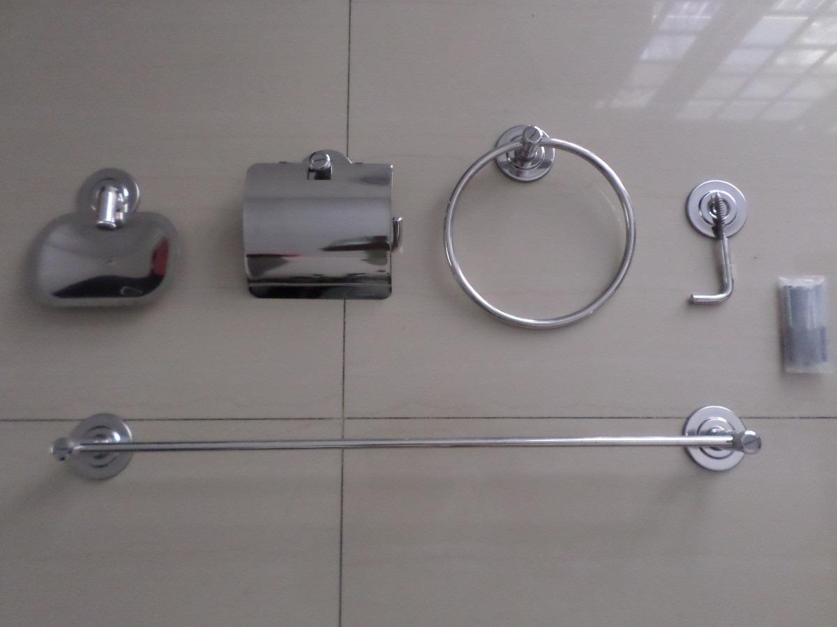 #5F5E6D Kit 6 Pçs Luxo Acessorios P Banheiro Aço Inox   Frete Gráts R$  1200x900 px kit acessórios banheiro tramontina