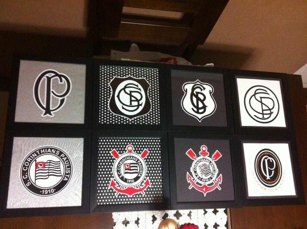 Aparador Vintage ~ Kit Adesivo 8 Escudos Corinthians Parede Quadros R$ 79,90 no MercadoLivre