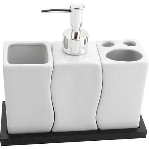 Kit Banheiro Porcelana : Kit banheiro porcelana saboneteira liquido porta sabonete