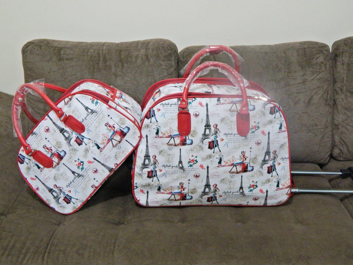 Bolsa De Viagem Feminina Bagaggio : Kit bolsa de viagem feminina com rodinha bonequinha car