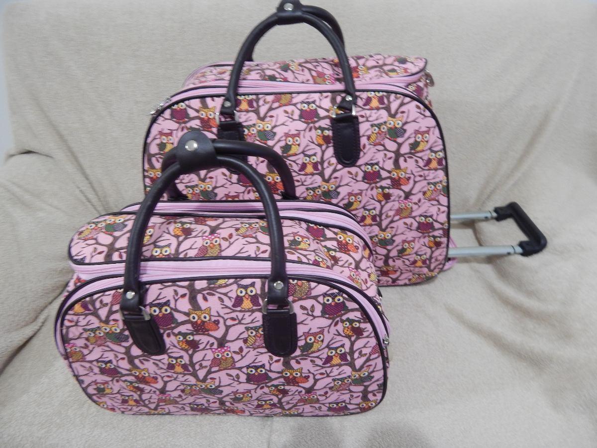 Bolsa De Viagem Feminina Bagaggio : Kit bolsa de viagem feminina com rodinha corujinha r