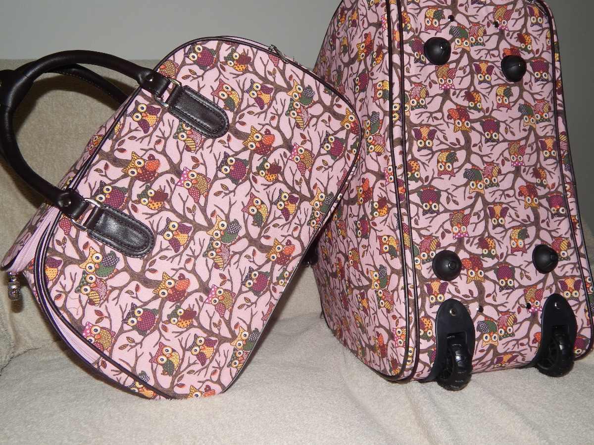 Bolsa Executiva Feminina De Rodinha : Kit bolsa de viagem feminina com rodinha corujinha