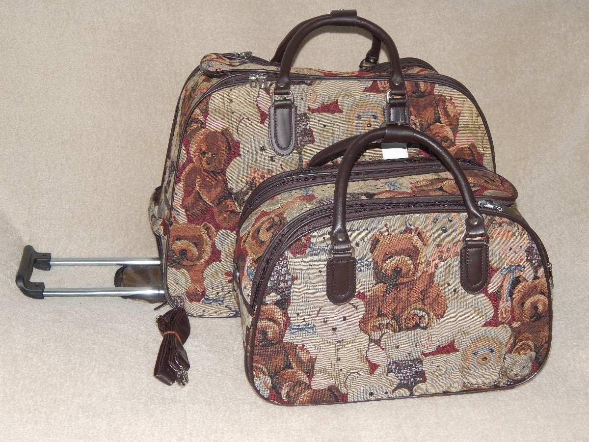 Bolsa De Viagem Feminina Grande : Kit bolsa de viagem feminina com rodinha ursinho r