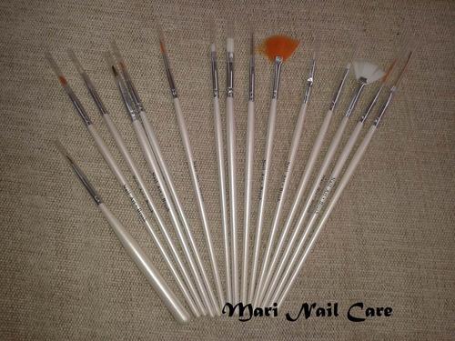 Kit Com 15 Pincéis Para Decoração De Unhas
