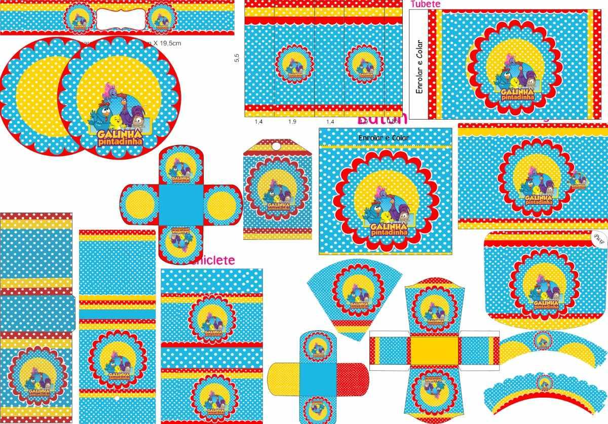 decoracao galinha pintadinha azul e amarelo:kit festa galinha pintadinha azul amarelo e vermelho poá