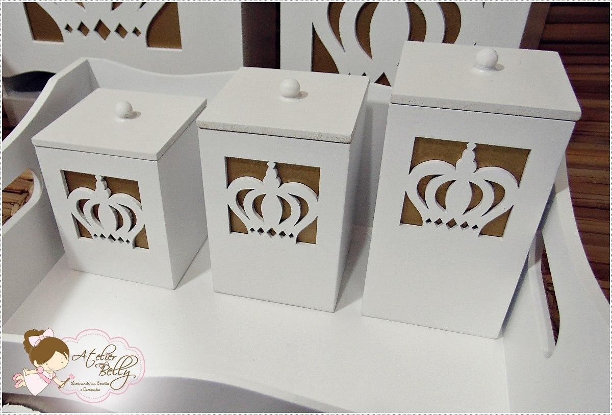 Kit Higiene Bebe Mdf Branco Coroa 11 Peças Dourado Bebês Ref  #5F452E 1200x813