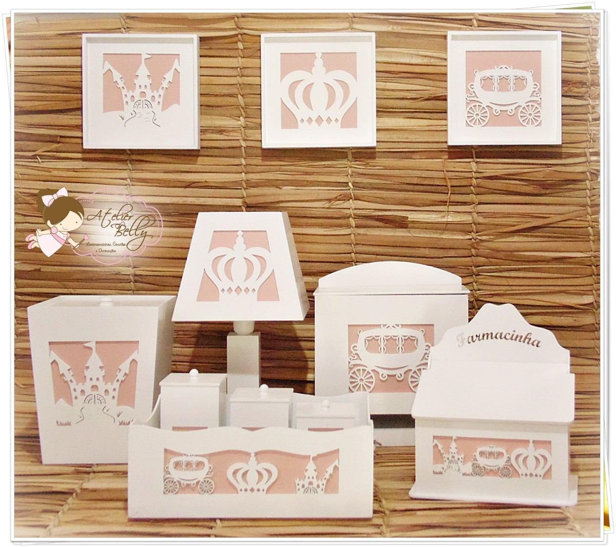 Kit Higiene Bebe Mdf Branco Urso Decorado Tecido  R$ 209,90 no MercadoLivre -> Kit Banheiro Mdf Decorado