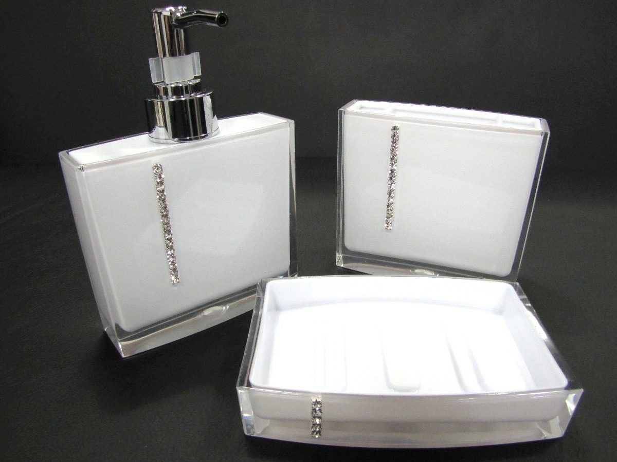 Kit Jogo Banheiro Acrílico Strass Branco Ou Preto R$ 79 90 no  #605B70 1200 900