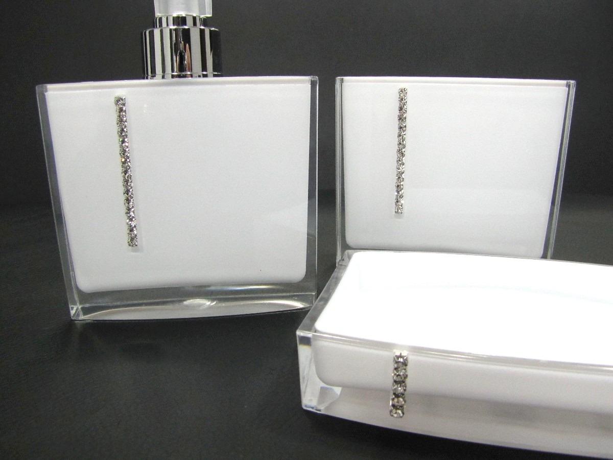 Kit Banheiro Acrilico Strass : Kit jogo banheiro acr?lico strass preto ou branco r