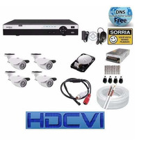 Kit 4 Cameras Hdcvi 720p Infra Dvr 8 Canais Intelbras Hdcvi