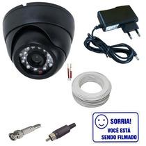 Kit Vigilância Para Tv 1 Câmera Dome 600 Linhas- Completo