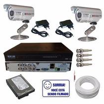 Kit 2 Câmeras Segurança + Dvr 4 Canais + Hd + Acessórios