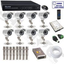 Kit Cftv 8 Cameras Infra Vermelho 25 A 30metros 600 Linhas C