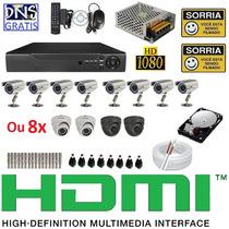 Kit 8 Cameras Completo Cftv Sony Dvr 8 Canais Hd 1tb Cabo 3g