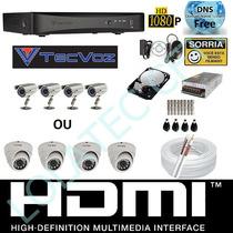 Kit 4 Cameras Infravermelho Dvr Tecvoz 4 Canais D1 Hibrido S