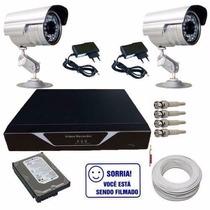 Kit Sistema De Vigilância 2 Câmeras E Dvr Compacto H.264