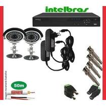 Kit Cftv Dvr4intelbras+2cameras Infra 1000l/30m+fonte+cabo