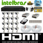 Kit Cftv 16 Cameras Sony 1/3 Dvr 16c Intelbras Vd3116+hd 1tb
