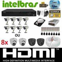 Kit Cftv 8 Cameras Infra 800l Sony Dvr 8 Canais Intelbras Hd