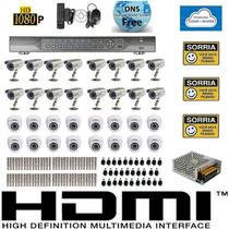 Kit Cftv 32 Cameras Sony Dvr 32 Canais Plat. Intelbras Fonte