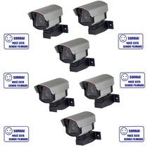 Kit 6 Câmeras De Vigilância Falsa Com Led- Comercial