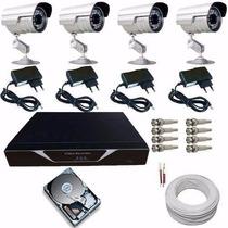 Kit Monitoramento Residencial E Comercial 4 Câmeras Infra