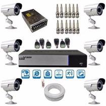 Segurança Residencial Kit Com 6 Câmeras Infravermelho E Dvr