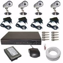 Circuito Fechado Kit 4 Câmeras Infravermelho E Dvr Compacto
