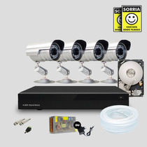 Kit Dvr Stand Alone 8 Canais 4 Cameras Infra Ccd Sony Hd 1tb