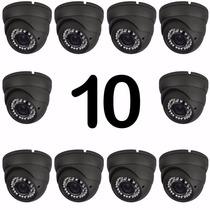 Kit 10 Cameras Monitora Dome Ccd 24 Leds Infra 1000 Linhas
