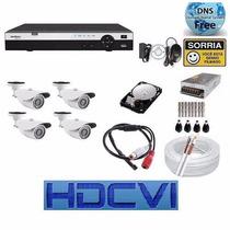 Kit Cftv 4 Camera Hdcvi Dvr 4 Canai Intelbras 3004 Hd 1 Tera