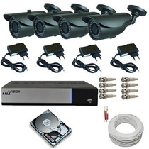 Kit Residencial Comercial Completo 04 Câmeras Ir Dvr Lux P2p