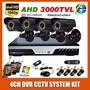 Kit Camera 4ch H.264 Dvr 1920,1080p Impermeável 4ch Kit Cctv