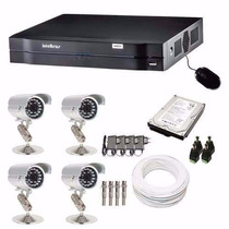 Kit Cftv 4 Cameras Ccd Sony Dvr 4 Canais Intelbras Hd 1 Tera