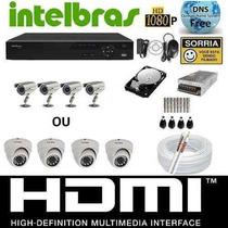 Kit Cftv Dvr Intelbras+hd+4cameras Infra 700l/30m+fonte+cabo