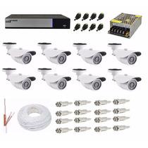 Kit Cftv Dvr Luxvision 16 Ch + 8 Câmera Ahd-m 1.3 Mp + Cabo