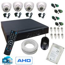 Kit Dvr Cftv + 4 Cameras Mini Dome + Cabo Conectores Fonte
