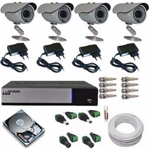 Kit Completo 4 Câmeras Cftv Infra Dvr Luxvision Acesso Nuvem