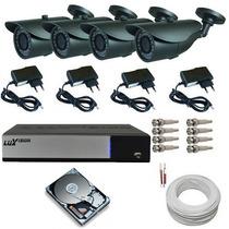 Kit Completo P/ Instalação 4 Camera Ir 960h Dvr Luxvision